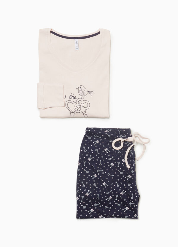 Pyjama Muster Herzen und Schlüssel