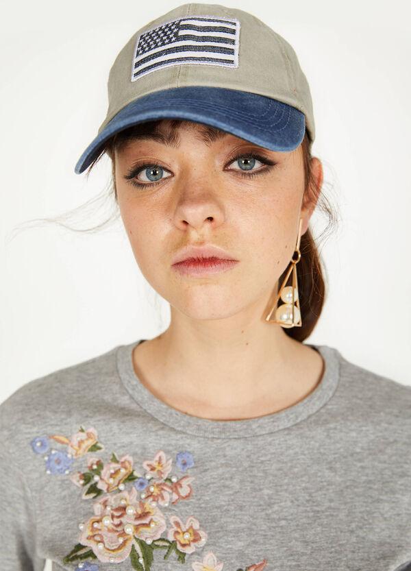 Sweatshirt aus reiner Baumwolle mit Stickerei und Perlen