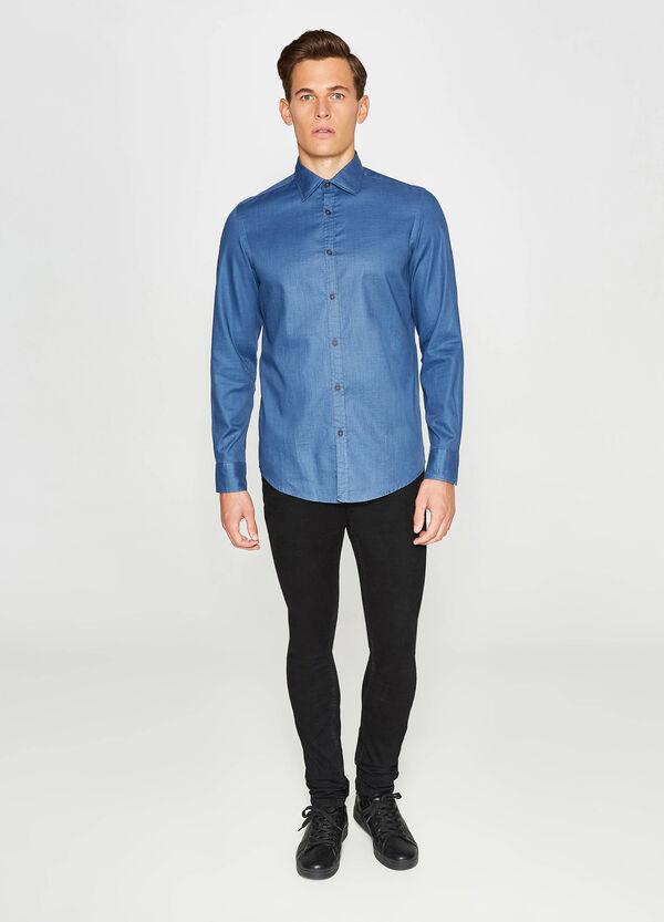 Casual-Hemd Slim Fit aus reiner Baumwolle | OVS
