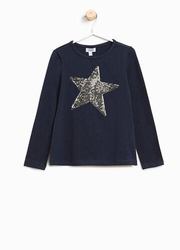 Stretch-T-Shirt mit Pailletten in Sternform