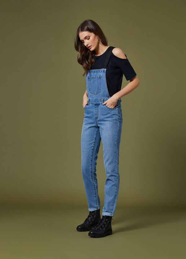 Jeans-Latzhose bedruckt K+K for OVS