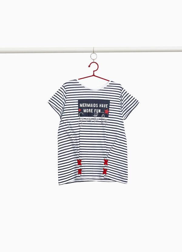 T-Shirt Baumwolle gestreift bedruckt