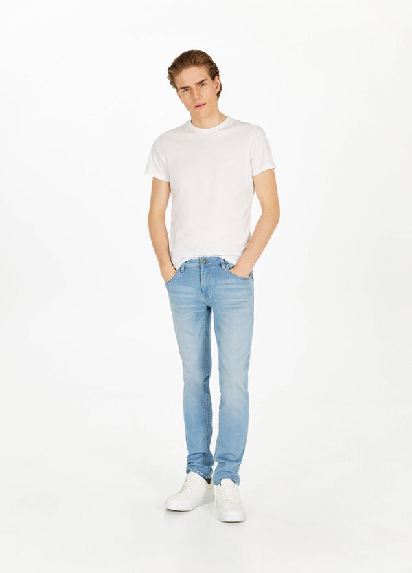 Stretch-Jeans Slim Fit mit Used-Effekt