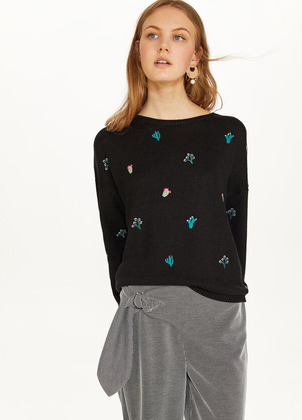 Pullover Baumwollmix mit Stickerei