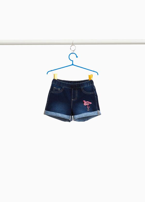Jeans-Shorts Flamingo Pailletten