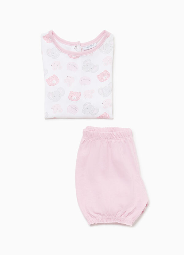 Pyjama gemustert Tierbaby Baumwolle