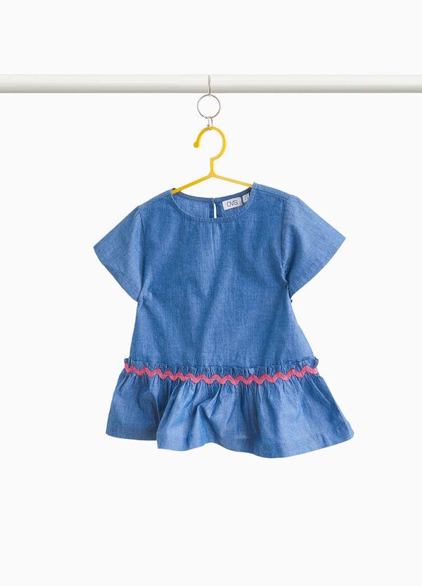 Bluse reine Baumwolle mit Stickerei und Volant