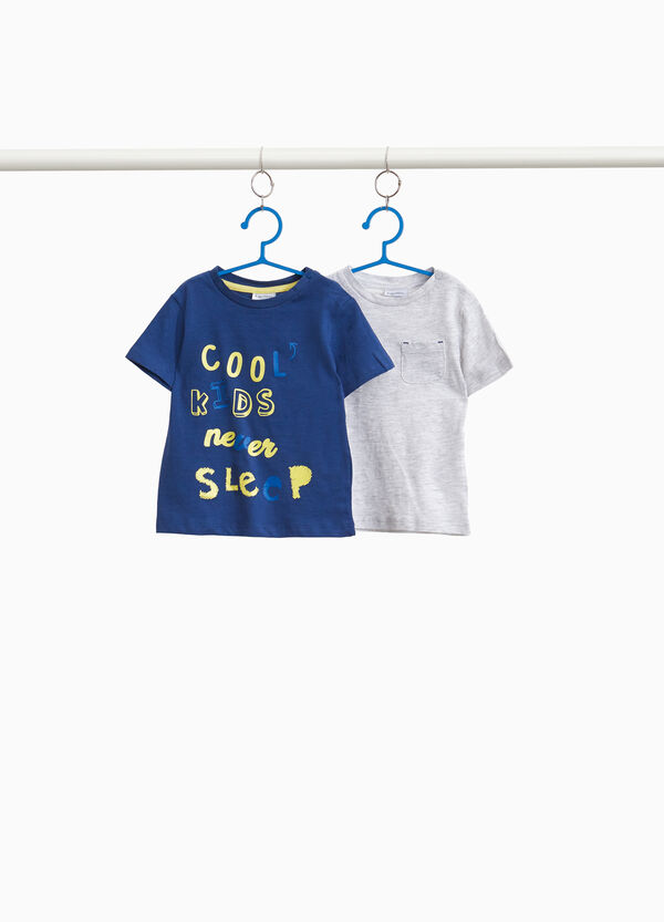 Set zwei T-Shirt Baumwolle einfarbig und Aufdruck