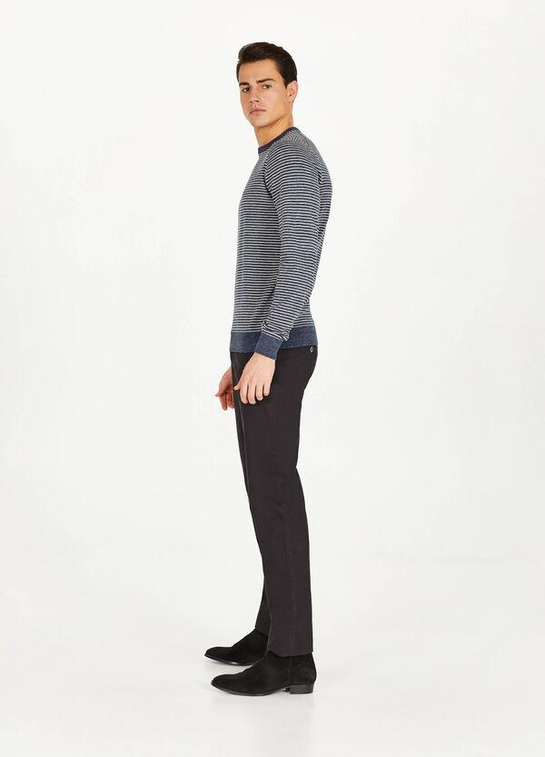 Pullover gestreift aus reiner Baumwolle