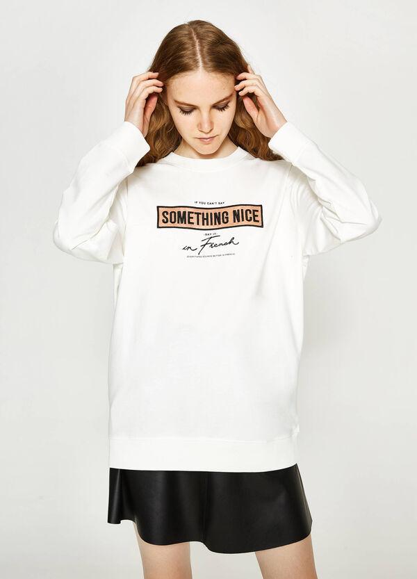 Sweatshirt aus reiner Baumwolle mit Aufdruck | OVS
