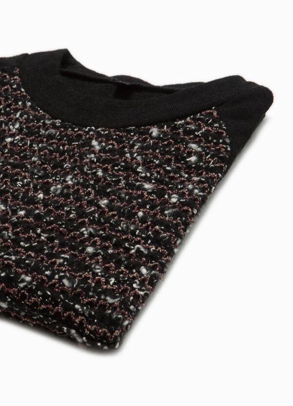 Stretch-Pullover Rundhalsausschnitt mit Stickerei