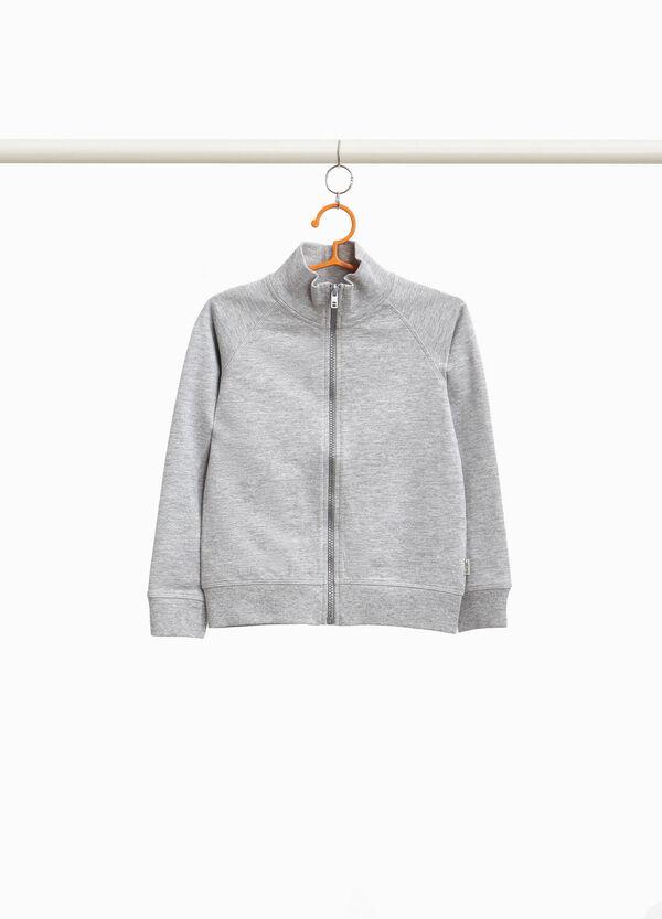 Sweatshirt aus Baumwoll-Mix Stehkragen und Reißverschluss