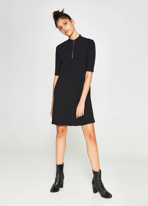 Kleid aus Baumwollstretch mit Reißverschluss | OVS