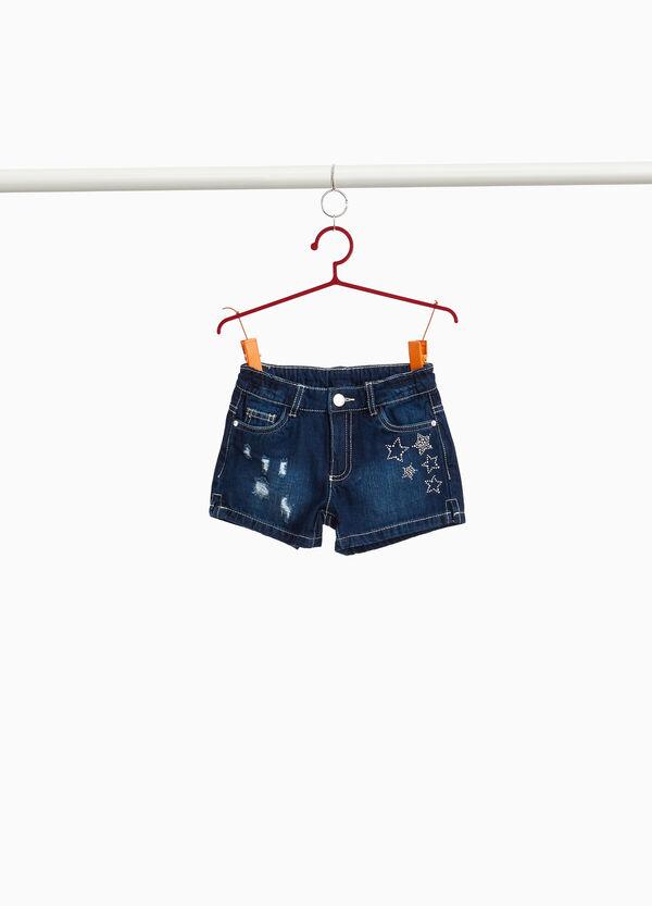 Jeans-Shorts Used-Effekt mit Strass