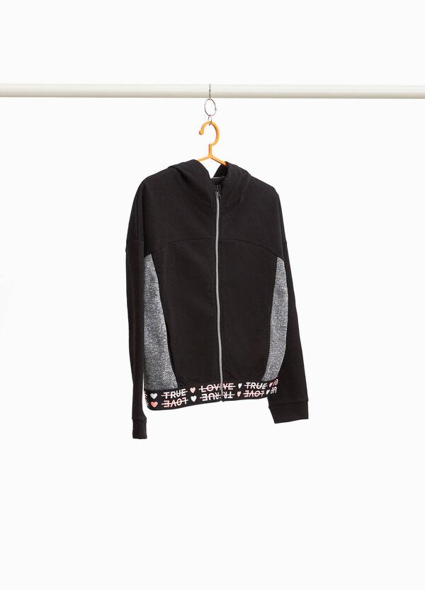 Sweatshirt aus Baumwolle mit Einsätzen und Aufdruck