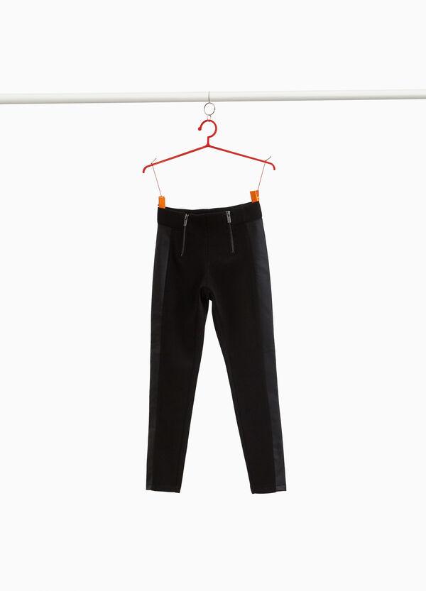 Hose Glanzstreifen und Doppel-Zipper