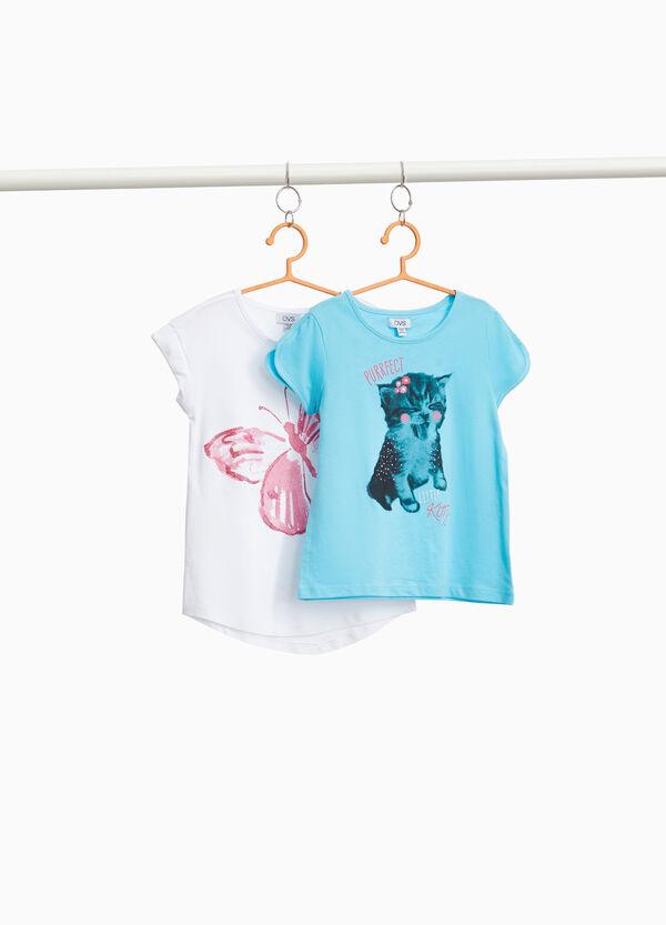 Set zwei T-Shirts Baumwolle Schmetterling und Katzenbaby
