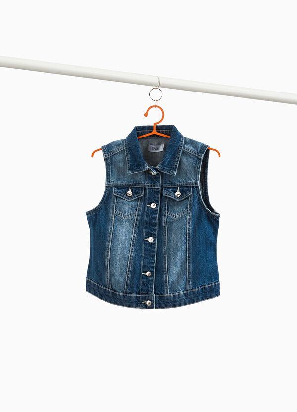Jeans-Weste mit Washed-out-Effekt mit Taschen