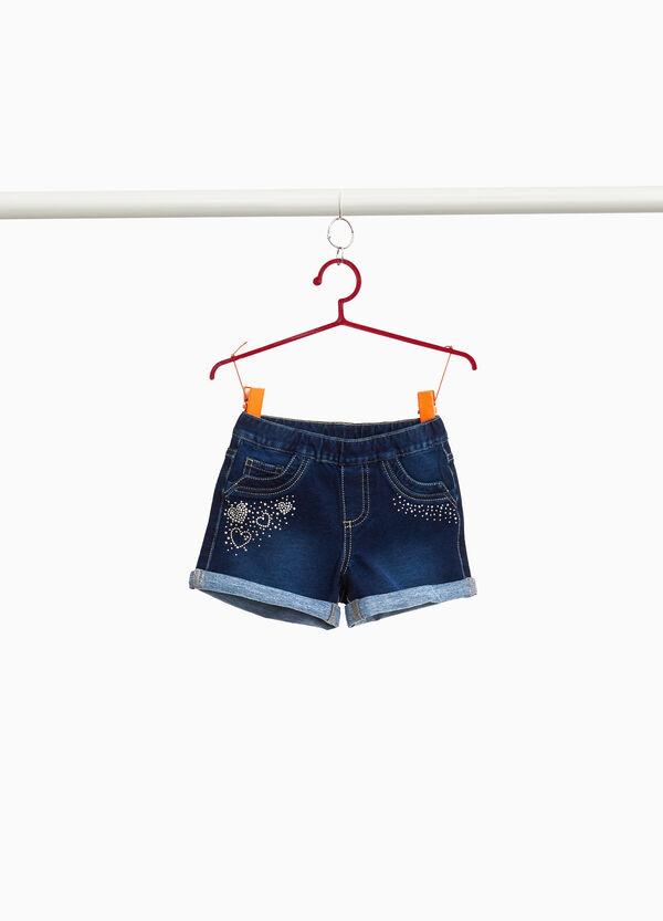Jeans-Stretch-Shorts Strass Herzen