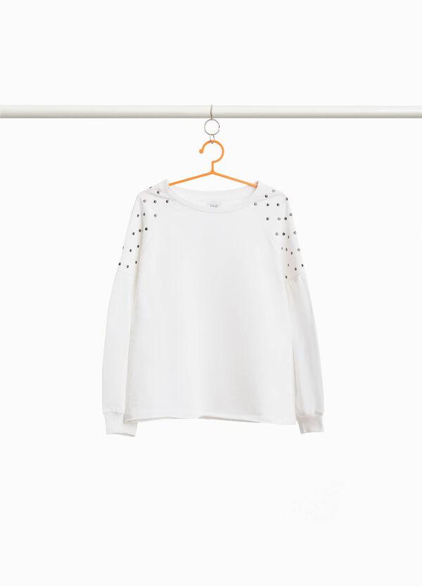 Sweatshirt aus reiner Baumwolle mit Nieten