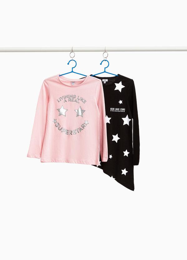 Set zwei T-Shirts Aufdruck mit Sternen