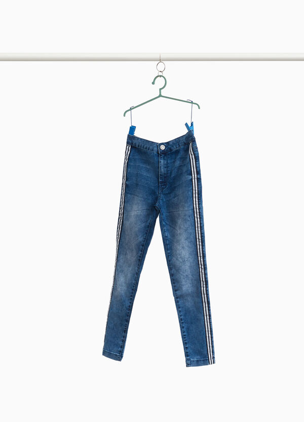 Stretch-Jeans mit hohem Bund Used-Effekt
