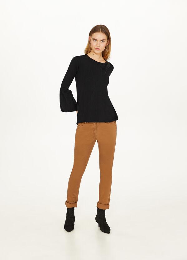 Einfarbige Hose Baumwollstretch