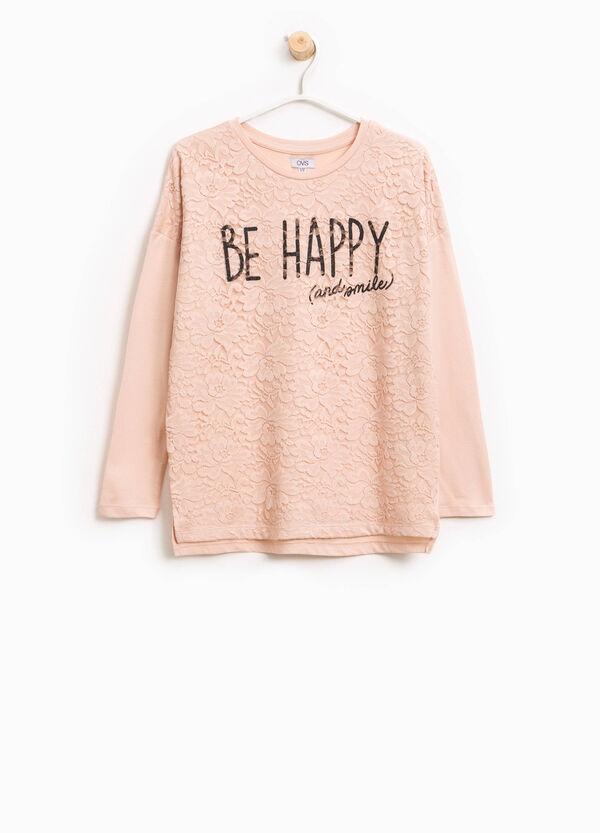 T-Shirt aus Baumwolle mit Spitze bedruckt | OVS