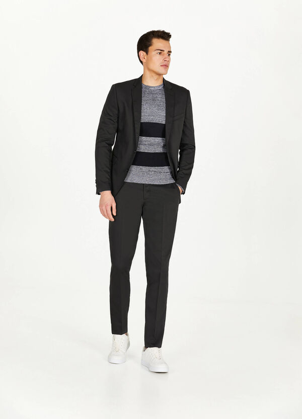 Pullover aus reiner Trikot-Baumwolle mit Streifen