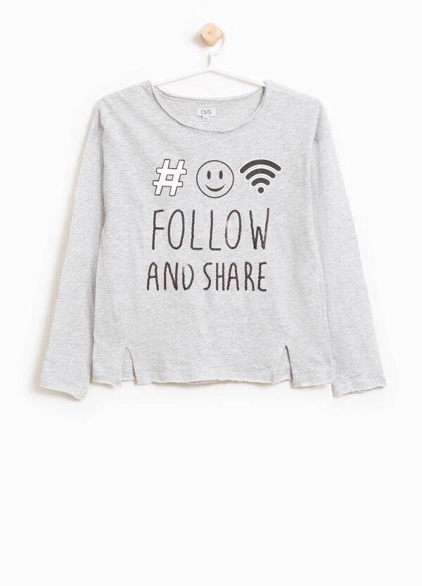 T-Shirt aus Baumwolle Pailletten und Aufdruck | OVS