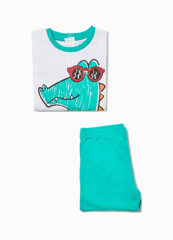 Pyjama aus Baumwolle Aufdruck Krokodil