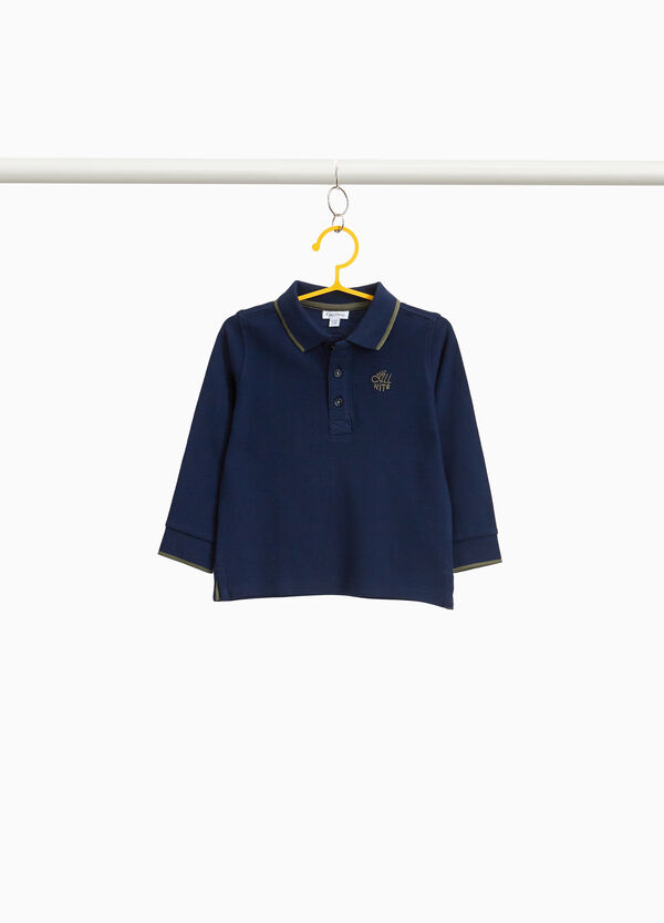 Polo-Shirt aus Pikée mit Stickerei Lettering