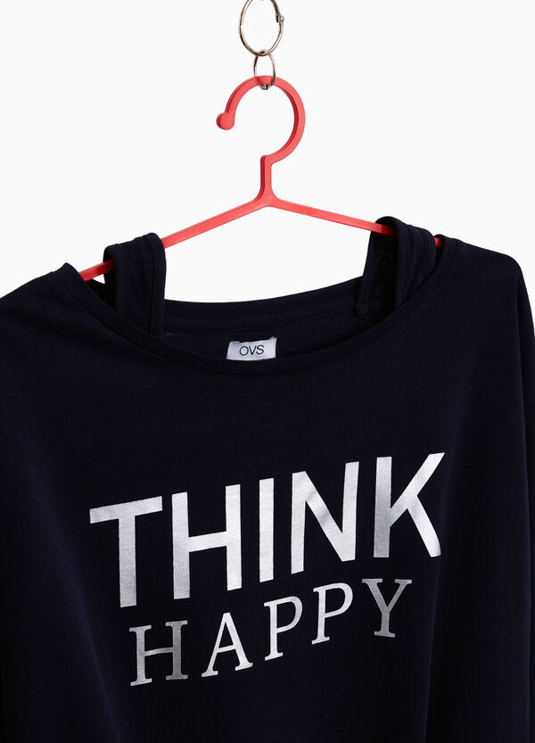 T-Shirt aus reiner Baumwolle mit Buchstabenaufdruck
