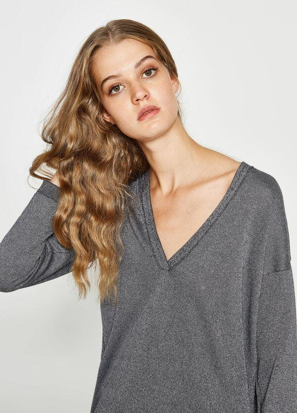 Pullover mit Lurex V-Ausschnitt | OVS