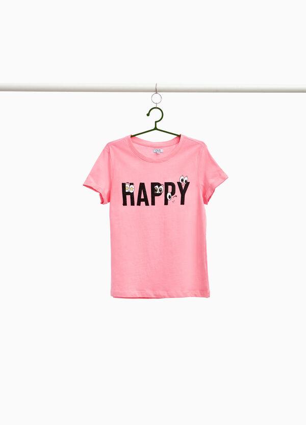 T-Shirt reine Baumwolle Glitter-Aufdruck