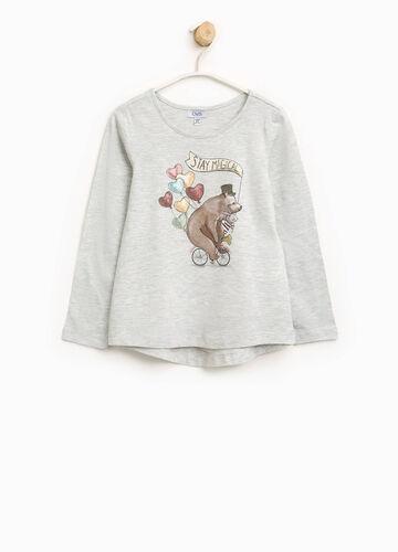 T-Shirt aus Baumwolle mit Glitter-Aufdruck