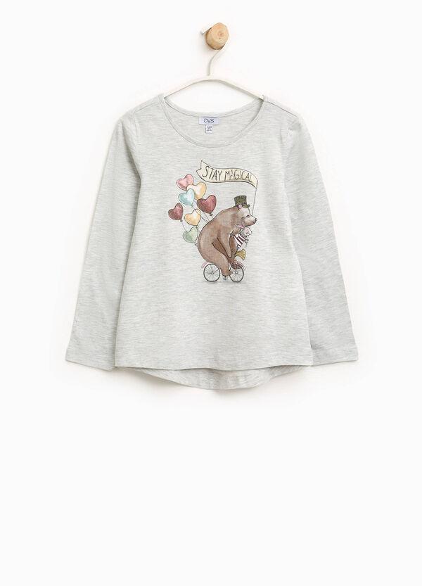 T-Shirt aus Baumwolle mit Glitter-Aufdruck   OVS