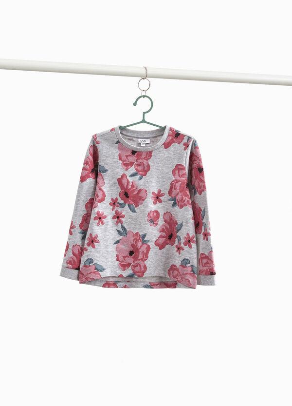 Sweatshirt floral aus reiner Baumwolle