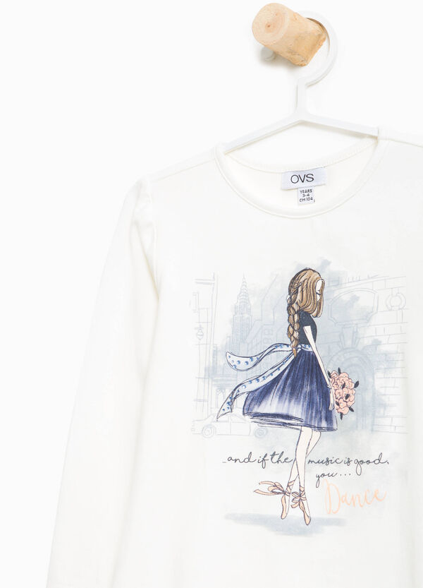T-Shirt Baumwollstretch Glitteraufdruck   OVS