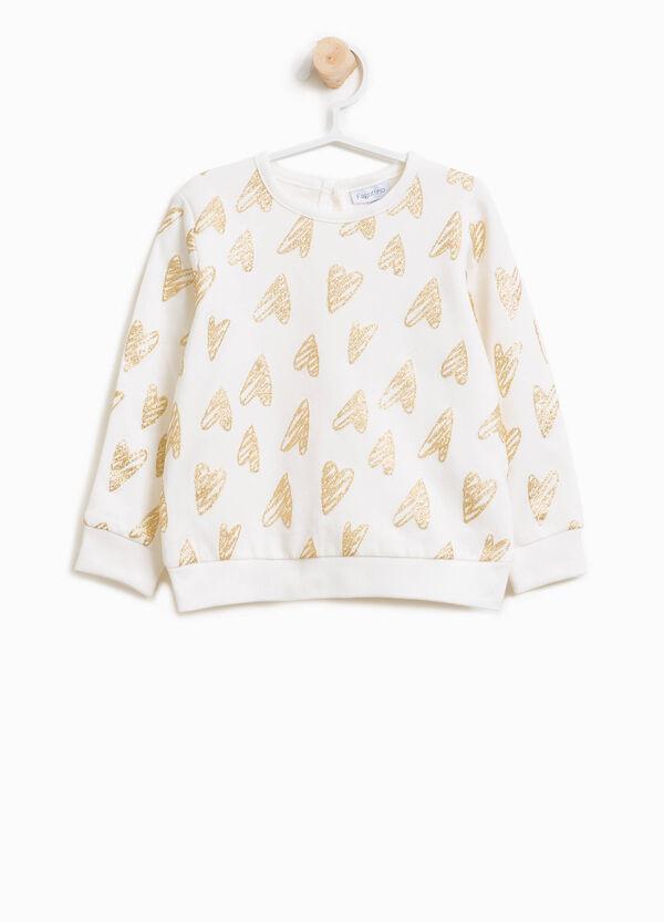 Sweatshirt Baumwolle Muster Glitter-Herzen