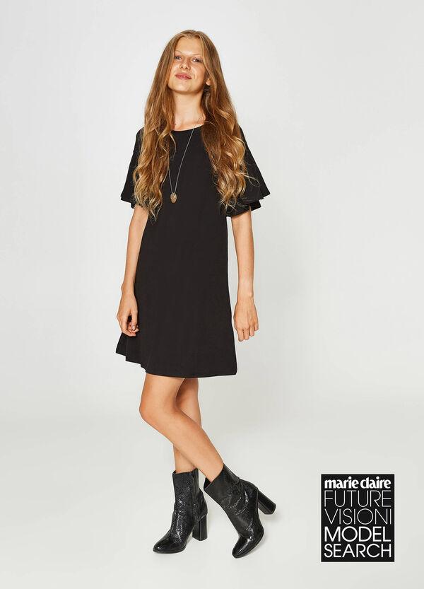 Kleid aus Baumwollstretch mit Volants | OVS