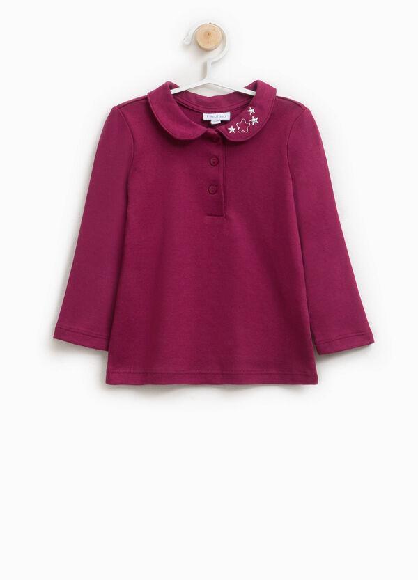 Polo-Shirt aus Baumwolle runder Kragen
