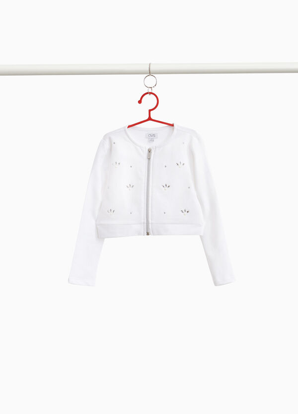Crop-Sweatshirt Baumwollstretch mit Strass