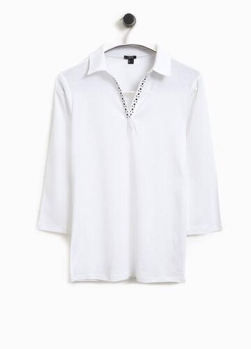Polo-Shirt aus Baumwolle mit Nieten Smart Basic