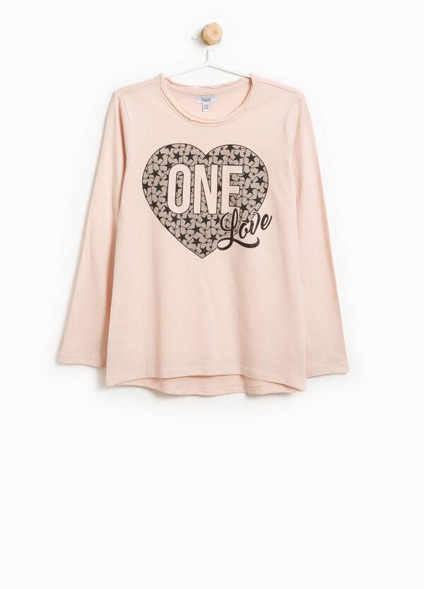 T-Shirt aus reiner Baumwolle Glitter-Aufdruck | OVS