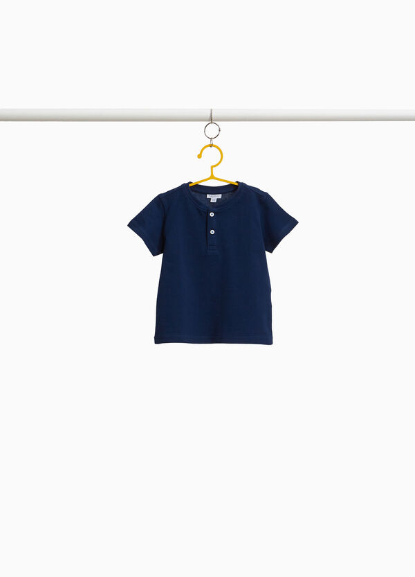 T-Shirt reine Baumwolle mit Knöpfen