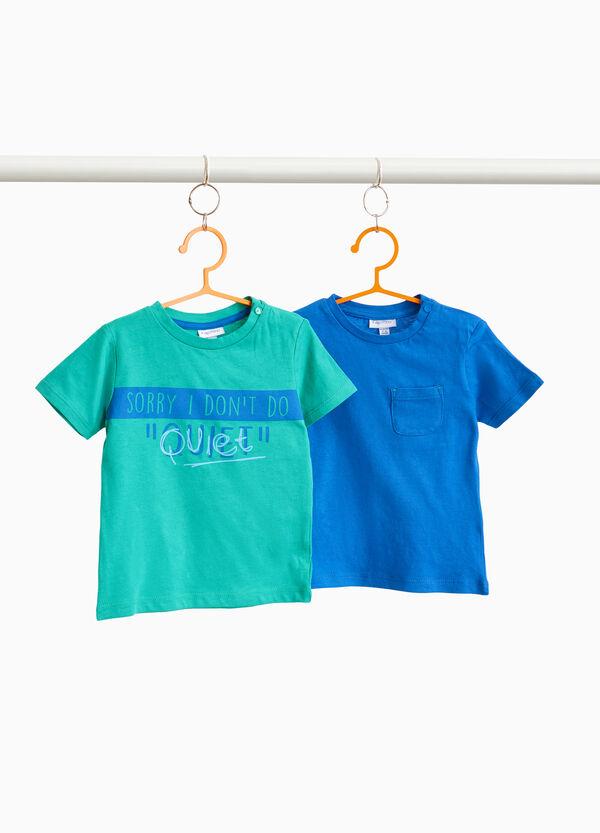 Set zwei T-Shirt aus Baumwolle kleine Tasche und Aufdruck