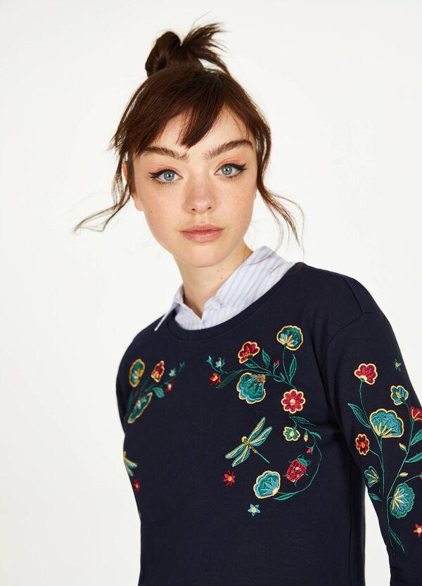 Crop-Sweatshirt aus reiner Baumwolle bestickt