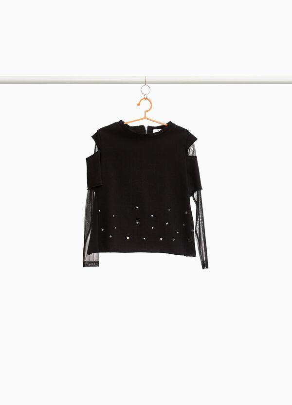 Sweatshirt halb transparente Ärmel Nieten