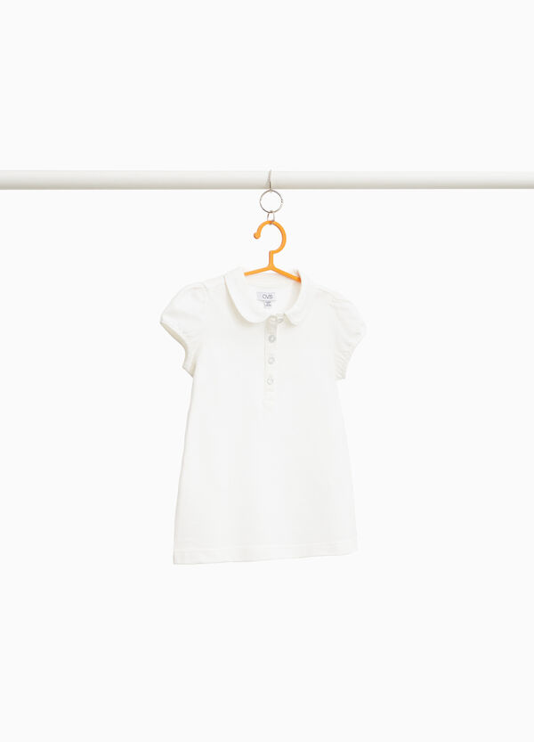 Einfarbiges Polo-Shirt aus Baumwollstretch